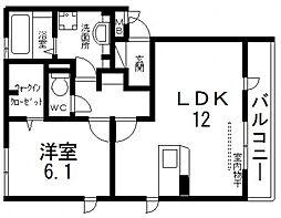 インペリアルカーサ A棟[201号室号室]の間取り
