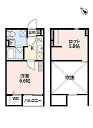 兵庫県神戸市長田区浜添通6丁目の賃貸アパートの間取り