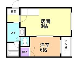 ARKマンション 3階1LDKの間取り