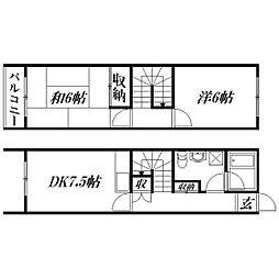 [テラスハウス] 静岡県浜松市浜北区小林 の賃貸【/】の間取り