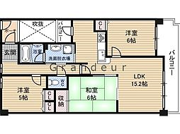 Osaka Metro今里筋線 鴫野駅 徒歩8分の賃貸マンション 5階3LDKの間取り