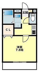愛知県岡崎市大平町の賃貸アパートの間取り