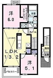 神奈川県愛甲郡愛川町角田の賃貸アパートの間取り