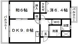 サンステージ天王[1階]の間取り