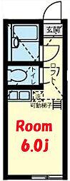 京急本線 弘明寺駅 徒歩18分の賃貸アパート 1階ワンルームの間取り