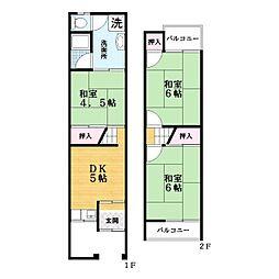 [テラスハウス] 大阪府大東市三箇6丁目 の賃貸【大阪府 / 大東市】の間取り