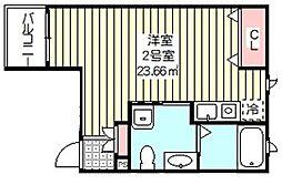 ベックアパートメントワラビ 3階ワンルームの間取り