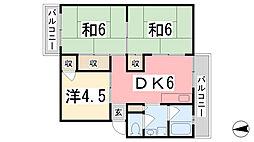 兵庫県姫路市網干区余子浜の賃貸マンションの間取り