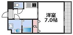メビウス玉造レジデンスII 6階1Kの間取り
