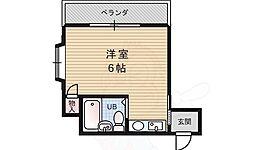 REBANGA十三アパートメント 3階ワンルームの間取り
