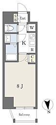 アースマンズ大阪城 5階1Kの間取り