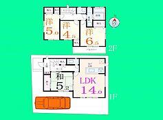 F号地の建物参考プランです。1階に和室がある4LDKの間取り。全室南向きで日当たり良好