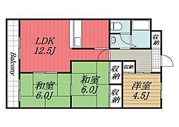 京成本線 京成成田駅 バス9分 新木戸下車 徒歩8分の賃貸マンション 2階3LDKの間取り