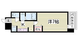 LAV神戸三宮 2階1Kの間取り