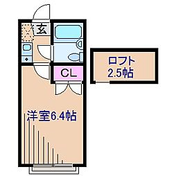 神奈川県横浜市港北区大倉山7丁目の賃貸アパートの間取り