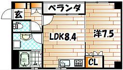 福岡県北九州市小倉南区東貫1丁目の賃貸アパートの間取り