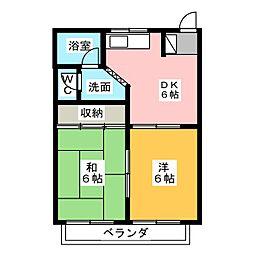 コーポハピネスC棟[1階]の間取り