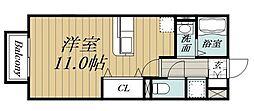 JR東金線 求名駅 徒歩19分の賃貸アパート 2階ワンルームの間取り