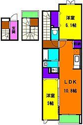 静岡県磐田市新貝の賃貸アパートの間取り