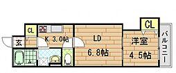 クリエオーレ稲葉[1階]の間取り