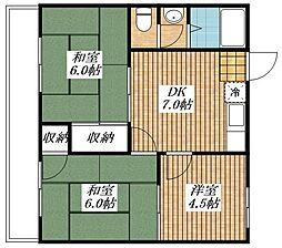 東京都昭島市中神町2丁目の賃貸マンションの間取り