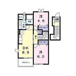 長野県東御市滋野王子平の賃貸アパートの間取り