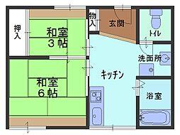 兵庫県芦屋市岩園町の賃貸マンションの間取り