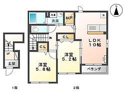 富山県富山市婦中町袋の賃貸アパートの間取り