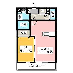 静岡県浜松市浜北区高畑の賃貸マンションの間取り