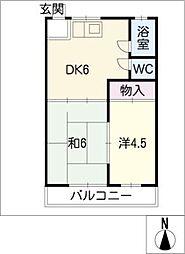 鹿田ハイツ[2階]の間取り
