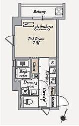東急世田谷線 上町駅 徒歩6分の賃貸マンション 5階1Kの間取り
