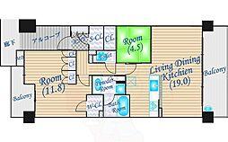 パークハウス千里中央セントラル・レジデンス 4階2LDKの間取り