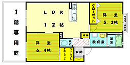 メゾンフロレアーレB棟[1階]の間取り