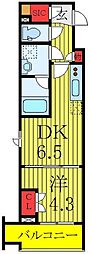 東武東上線 下板橋駅 徒歩1分の賃貸マンション 2階1DKの間取り
