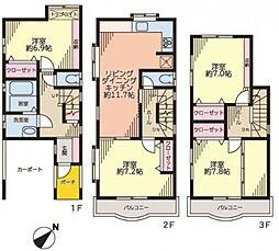 [一戸建] 神奈川県横浜市西区西戸部町1丁目 の賃貸【/】の間取り