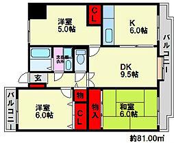 福岡県福岡市南区若久2丁目の賃貸マンションの間取り