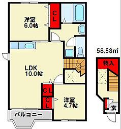 リバーサイドIII[2階]の間取り