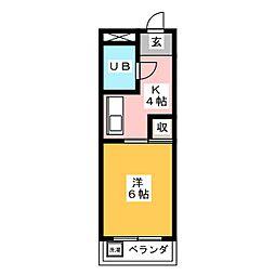 ハイツ岩崎 1階1Kの間取り