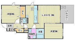 兵庫県加古郡播磨町二子字石保の賃貸アパートの間取り