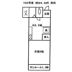 東京都板橋区徳丸6丁目の賃貸アパートの間取り