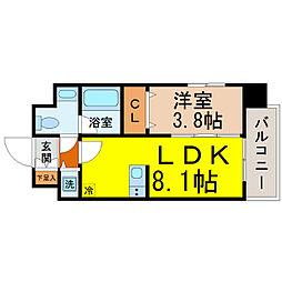 愛知県名古屋市千種区茶屋が坂1丁目の賃貸マンションの間取り