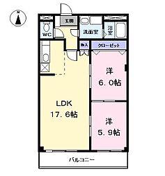 愛知県海部郡大治町大字西條字高場の賃貸マンションの間取り