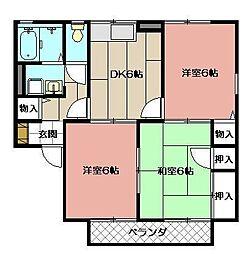 セジュール東山田II B棟[205号室]の間取り
