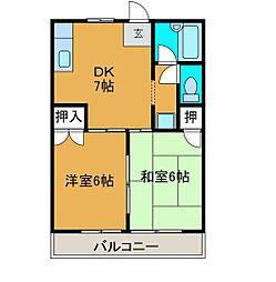 神奈川県相模原市南区西大沼3の賃貸アパートの間取り