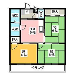 レインボー勝川[2階]の間取り