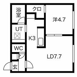 仮称)澄川2-3A棟 4階1LDKの間取り