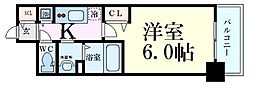 プレサンス大阪福島レシェンテ 9階1Kの間取り