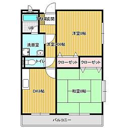 長野県諏訪市沖田町の賃貸アパートの間取り