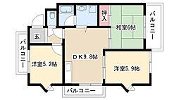 愛知県名古屋市守山区大森2丁目の賃貸アパートの間取り