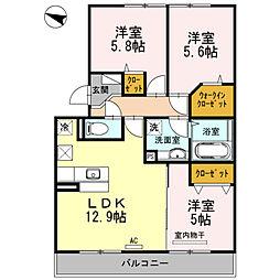 ベルメゾン古賀島[2階]の間取り